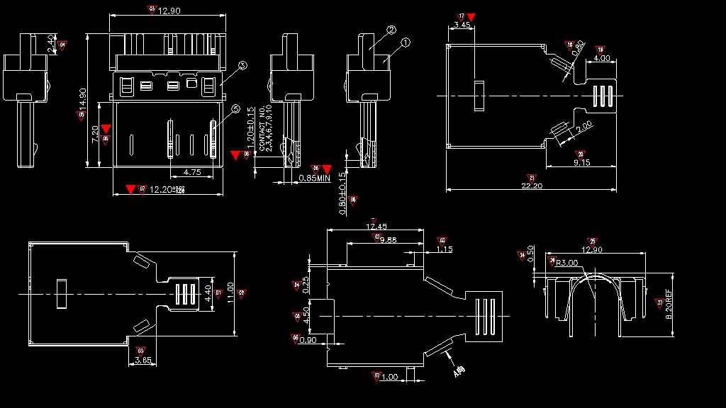micro usb 3.0版焊线三件式