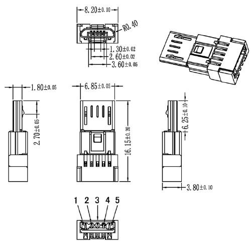 刺破式micro usb 5p公头