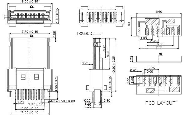 mini usb 12p焊线式公头